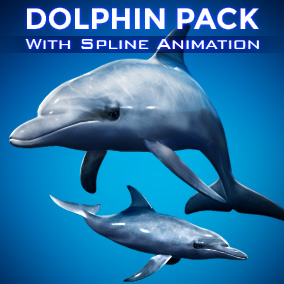 Create your own PhotoRealistic Dolphin animations with a built in Spline Animation System!