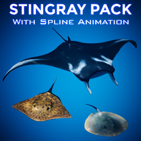 Animate numerous Stingrays and Manta Rays within seconds with the procedural spline animation system!