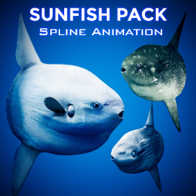 The Ocean Sunfish Pack comes with a procedural spline animation system that produces dynamic acceleration, turning and rolling along splines.