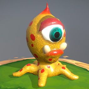 """Low poly model """"Octopus virus (bacteria or aliens)"""" was made for cartoon games."""