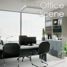 A realistic office scene.