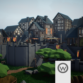 Low Poly modular assets pack for create medieval style houses and buildings