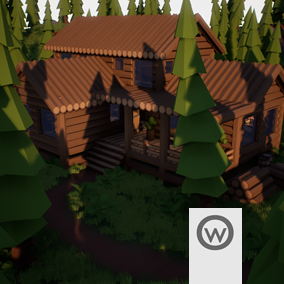 Low Poly Assets pack for create wooden modular buildings