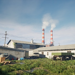 Industrial environment, includes modular buildings with interiors, props and vehicles.