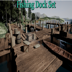 Old wooden docks with a few small props.