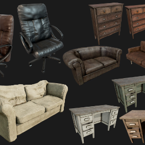 High Quality Collection of 8 Old Furnitures to decorate your Interior Environments.