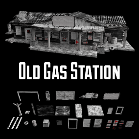 Old Gas Station black and white style