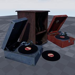Models of British and Soviet portable gramophones