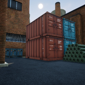 PBR 4K Old Industrial Park Environment containing high definition quality assets.