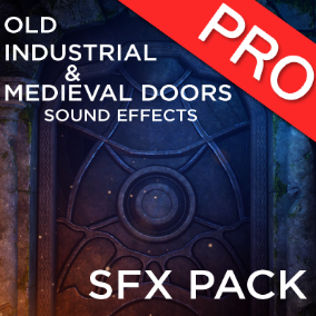 The old, industrial and medieval doors sound effects pack features 57 high quality wooden, metal, portcullis, slinding, double door, door locked, sliding rock and drawbridge sounds.