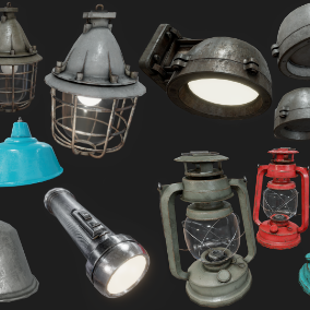 Collection of 5 High Quality Light Props, perfect for use as in the environment, and the lantern and flashlight as equipment
