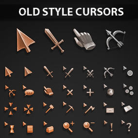 Set of 54 old style hand-drawn cursors
