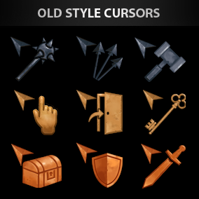 Set of 28 unique old style hand-drawn cursors.