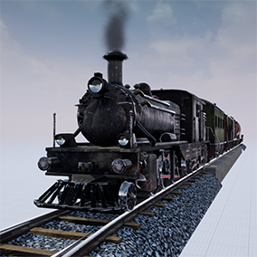 Train engine with 6 wagons and with module based rail system.