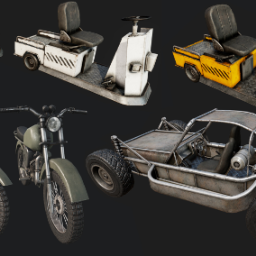 High Quality Old Motorcycle, Dune Buggy, and Industrial Car.