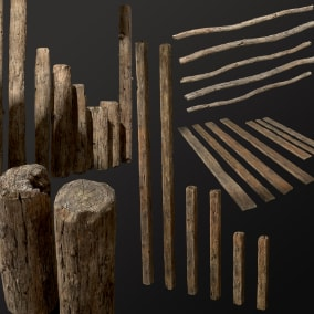 This is high quality low-poly game asset for first-person games or third view. These old planks and balks can be used for modern, medieval or any other game scene.