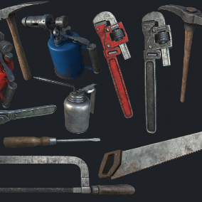 Collection of 12 High Quality Old Work Tools, perfect for decoration, weapons, or items.