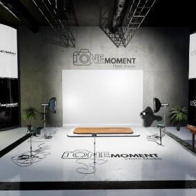 Photo Studio scene with 3 modular studio setups and additional game-ready props.