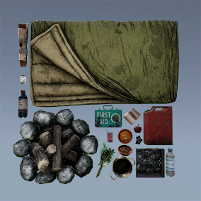 AAA quality Open World Camping Pack with food, gear, tools and more