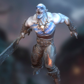 A terrible orc with a huge sword. He will cut anyone into pieces