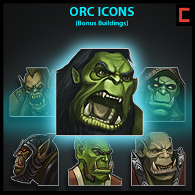 Set of 64 hand drawn orc icons. All icons are of a high quality.