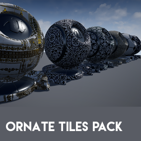 Ornate tile set with tileable PBR textures and custom dirt layer system in the shader.