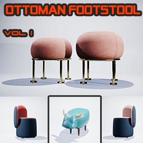 Package of realistic Ottoman Footstool Vol 1 with 24 unique meshes including 140 materials and textures baked 4K