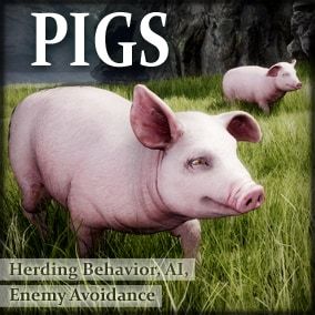 Animals for your game environments by Living Systems. Add interactive Pigs to your game environments. Drag and drop. Built in herding behavior and enemy avoidance.