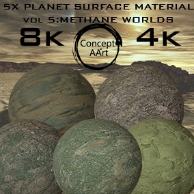 5 Super Realistic Planet Surface Materials for all platforms. All Textures have their own 8K,4K,2K and 1K version and ready for every kind of project.