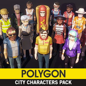 A low poly asset pack of characters to create a city based polygonal style game.
