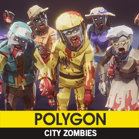 Synty Studios Presents -  An Epic Low Poly asset pack of zombie characters to create an apocalypse themed polygonal style game.