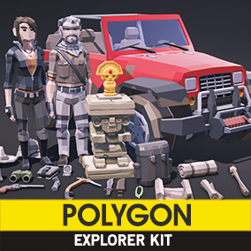 Synty Studios Presents -  A low poly asset kit of characters, props, weapons, and a vehicle asset to create an explorer themed polygonal style game.