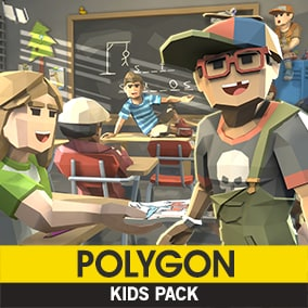 A Low Poly asset pack of Characters, Props, Vehicles and Environment assets to create a Kids themed polygonal style game.