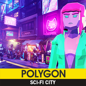 Synty Studios Presents - Polygon - Sci-Fi City Pack. A futuristic themed asset pack.