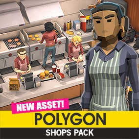 Synty Studios presents An Epic Low Poly asset pack of modular buildings, characters, props and environment assets to create a Shop themed polygonal style game.