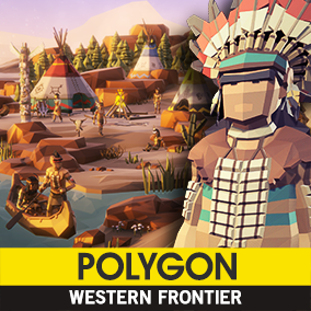 Synty Studios Presents - An Epic Low Poly asset pack of characters, props, weapons, vehicles and environment assets to create a western themed polygonal style game.