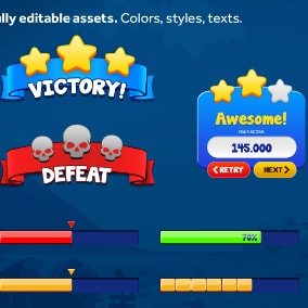 Fully Editable Vector Mobile Games UI Elements