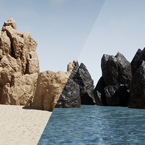 Stylized Rocks With Customizable Colors