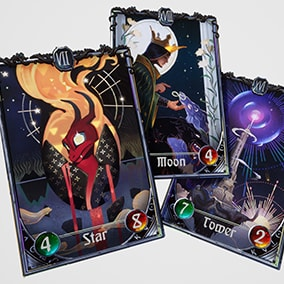 Parallax Master Material with five prepared Tarot Cards and handpainted stylized Card Deck.