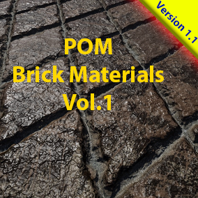 A pack of 12 Parallax Occlusion Brick Materials