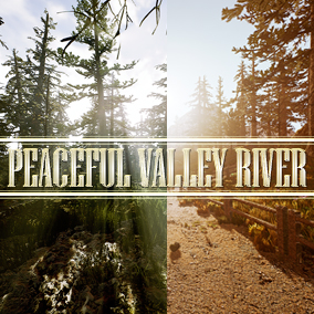 Peaceful Valley River is an environment that contains a lot of photorealistic nature assets that can fit in any type of scene (trees, rocks, mushrooms, plants, grass, and debris. A great water system is included and an easily customizable landscape.