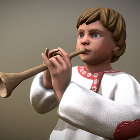"Low poly model ""Peasant (Villager) Boy"" was made for games."