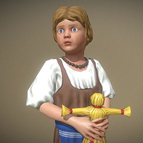 """Low poly model """"Peasant (Villager) Girl"""" was made for games."""