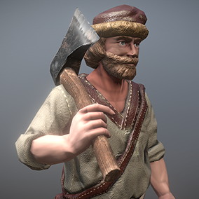 """Low poly model """"Peasant (Villager) Man"""" was made for games."""