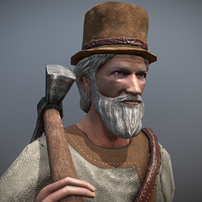 """Low poly model """"Peasant (Villager) Old Man"""" was made for games."""