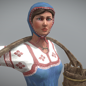 """Low poly model """"Peasant (Villager) Woman"""" was made for games."""
