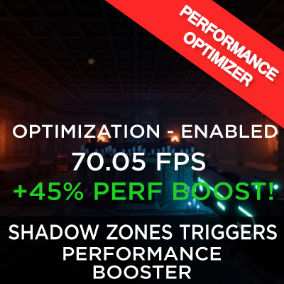 The Shadows Triggering Zones tool provides an easy way to optimize dynamic shadows performance in your levels/maps. Optimization is the key!