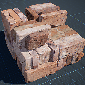 Realistic photo scanned bricks x21 and brick stack generation Blueprint.
