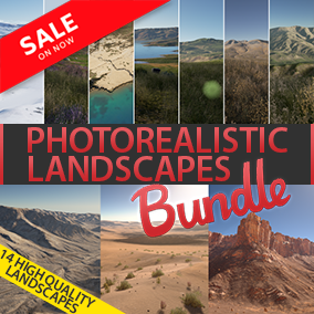 """This bundle included """"Photorealistic Landscape Pack 4"""" and """"Photorealistic Landscape Pack 3"""". These landscapes, will be eligible for next-gen games. This pack has 14 maps in total."""