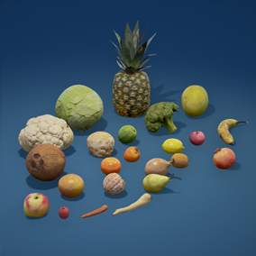 High quality photoscanned fruits and vegetables models. Pack include 23 models with LODs. Include Mobile version.
